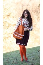 thrifted vintage blouse - Target tights - Natural Life bag - Orla Kiely skirt
