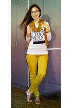 mustard Bershka pants - beige Topshop sandals - silver silver Forever21 bracelet