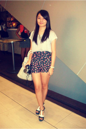 see-through top Topshop shirt - vintage bag Aldo bag - floral shorts next shorts