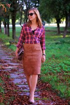brown vintage skirt - brick red lindex shirt - dark brown vintage bag