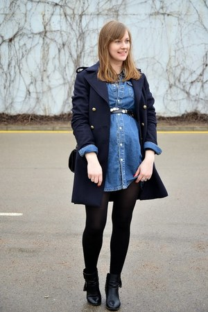 navy H&M coat - blue PERSUNMALL dress - black Zara bag