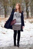 navy H&M coat - charcoal gray New Yorker sweater - crimson Zara bag