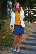 blue vintage skirt - orange Zara blouse - white deichman flats