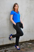 blue Bershka t-shirt - blue Zara heels - black lindex pants