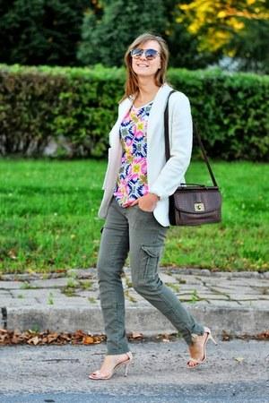 dark brown New Yorker bag - light yellow PERSUNMALL blouse - neutral Zara heels