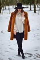 black Deichmann boots - black H&M jeans - black Promod hat - beige H&M blouse