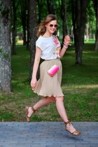 peach reserved sunglasses - bubble gum H&M bag - white reserved t-shirt