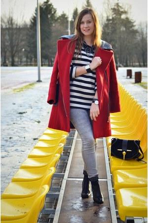 black Deichmann boots - heather gray H&M jeans - black Zara bag