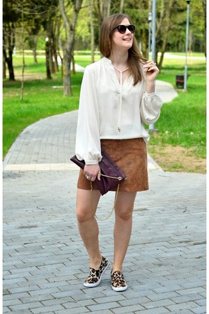 nude H&M coat - crimson Zara bag - neutral H&M blouse - bronze asos flats