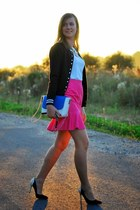 hot pink sewed skirt - blue Mohito bag - white reserved t-shirt