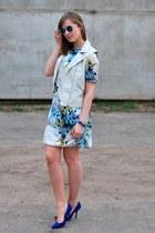 blue H&M glasses - light blue SUITED dress - blue Zara heels - white H&M vest