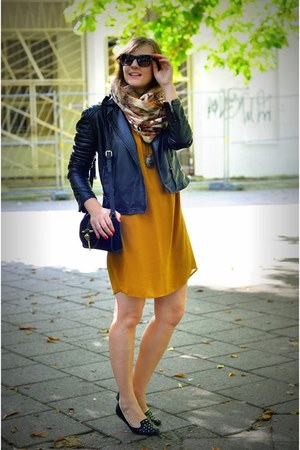 black next jacket - light orange H&M dress - burnt orange H&M scarf