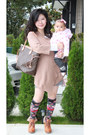 Tan-gap-sweater-heather-gray-h-m-skirt-ozone-socks-bronze-h-m-boots-loui