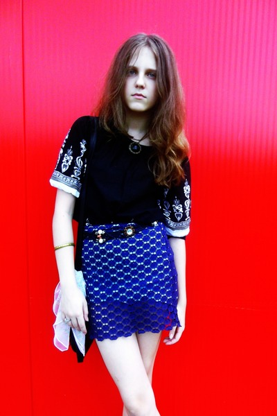 blue vintage skirt vintage skirt - black black vagabond boots