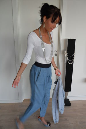 blue Zara pants - blue just female jacket - blue Giuseppe Zanotti shoes - silver