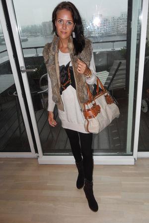 brown vintage vest - beige H&M dress - brown Bianco boots - beige DKNY purse