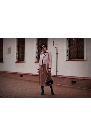 black black Mango boots - black beret NN hat - light pink leather zaful jacket