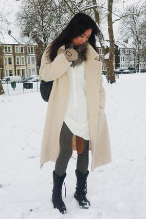 vintage coat - asos shirt - asos leggings - nicole farhi boots - Miu Miu bag