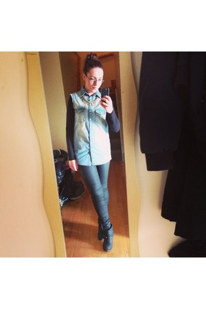 black new look boots - sky blue Primark shirt - black River Island pants