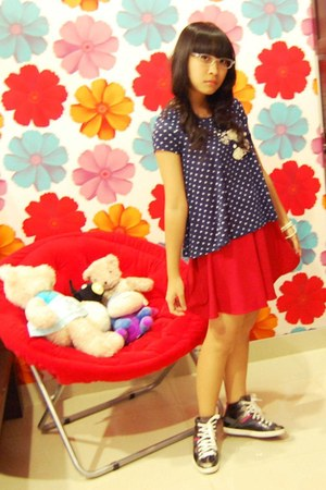 red GOWIGASA skirt - navy polkadot chic simple shirt - gray Zara sneakers