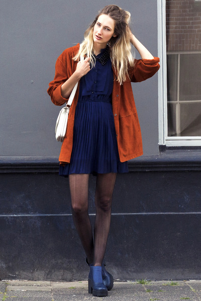 H&M shoes - Cutedress dress - Secondhand jacket - ringsandtings necklace