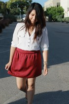 ruby red skirt - white blouse