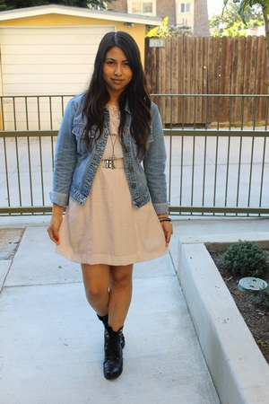 light pink dress - black boots - blue jacket
