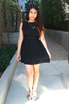 black brandy melville dress - silver Charlotte Russe heels