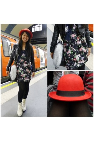 red bowler unknown hat - black leather biker H&M jacket