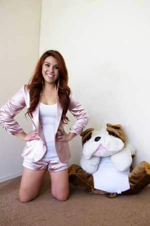 light pink blazer - light pink shorts