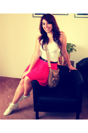 red skirt - cream lace boots - tan bag