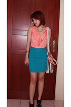 canvas Gucci bag - denim jeans pull&bear skirt - satin Forever21 blouse - Foreve