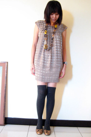 necklace - H&amp;M dress - Topshop socks - pedder red shoes