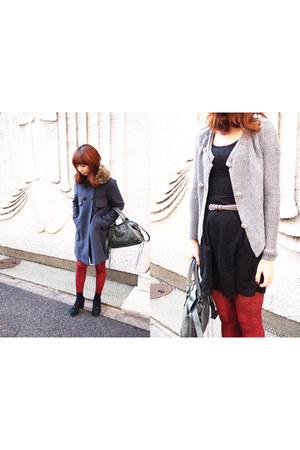 pattern Habi tights - lace H&M dress - coat - fur collar DIY scarf