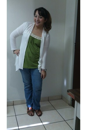 olive green Abercrombie shirt - blue DKNY jeans - white random brand sweater