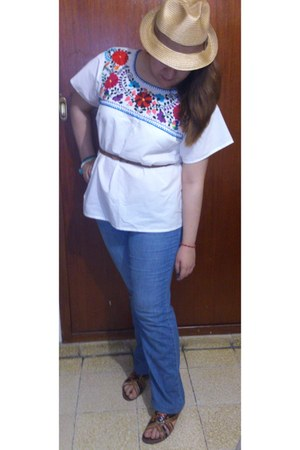 white handmade mexican folkie shirt - light blue DKNY jeans