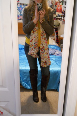 army green unknown sweater - mustard Forever 21 shirt - Belk scarf - navy Levis