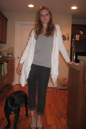 white cardigan - Urban Outfitters shirt - gray Wet Seal jeans - silver Aldo shoe