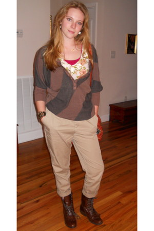 brown vintage sweater - cream Belks shirt - beige Victorias Secret pants - dark