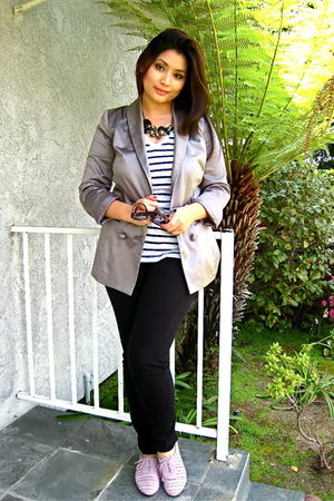silver Forever 21 blazer - black Sneak Peek jeans - white Zara t-shirt - purple