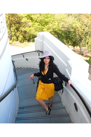 yellow Forever21 dress - black Julu shoes - gray Urban Outfitters hat