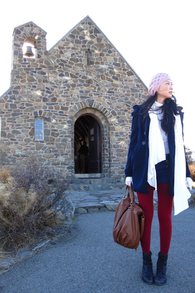 brown Zara - white cotton on scarf - blue Forever21 coat - black Oasis shoes
