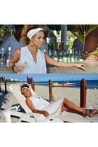 white velvet beachxxl Moschino dress - teal denim floral Topshop sandals