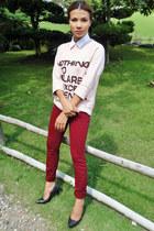 brick red denim Emilio Pucci jeans - light pink cotton oversize Zara sweater
