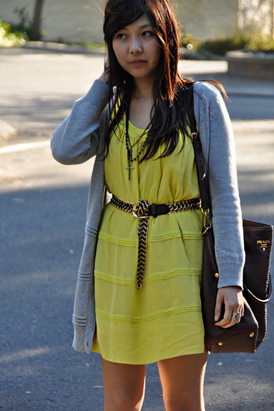 silk Katherine dress - leather Prada bag - grey cardigan - black diva necklace