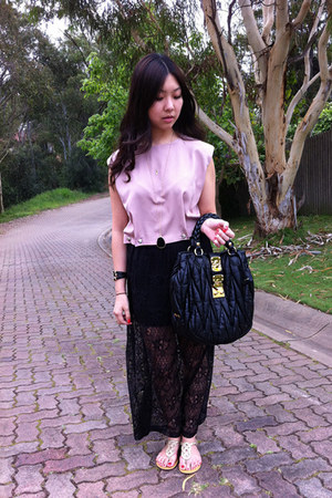 lace Sportsgirl skirt - leather Miu Miu bag - top - leather Nine West sandals