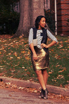 black Dolce Vita shoes - Forever 21 shirt - Gucci purse - gold NY and Co skirt
