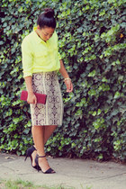 yellow Jcrew blouse - maroon Aldo purse - black Zara sandals - Jcrew skirt