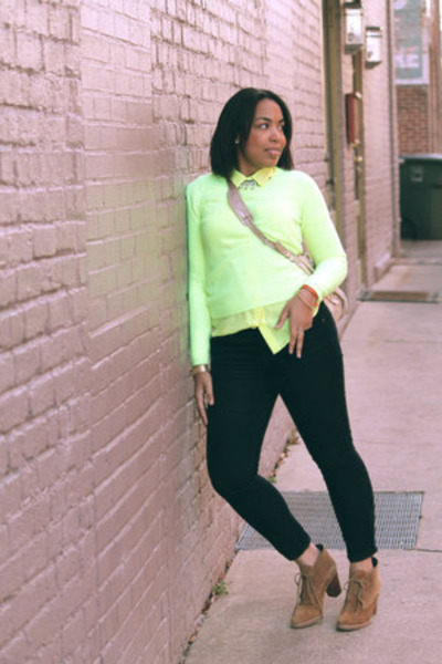 yellow Jcrew blouse - brown Gap boots - yellow Forever 21 sweater