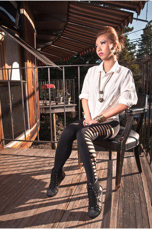 black H&M shoes - black Karmaloop leggings - gold H&M earrings - white H&M blous